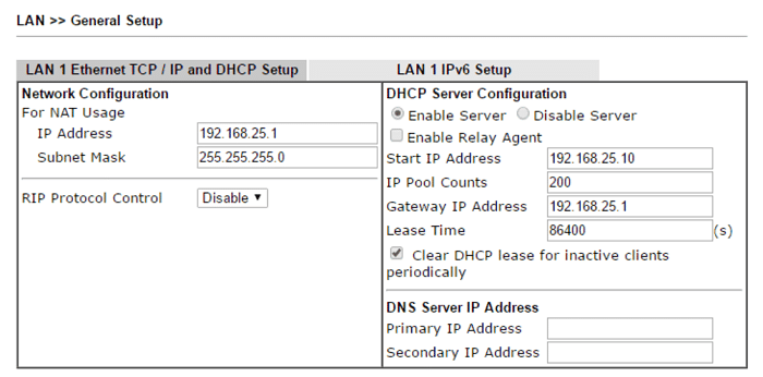Set DHCP Lease Time