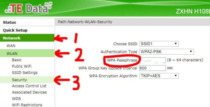 change TE Data router username and passphrase