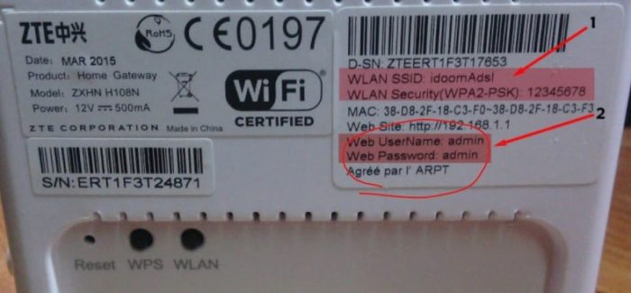 login details on the router label