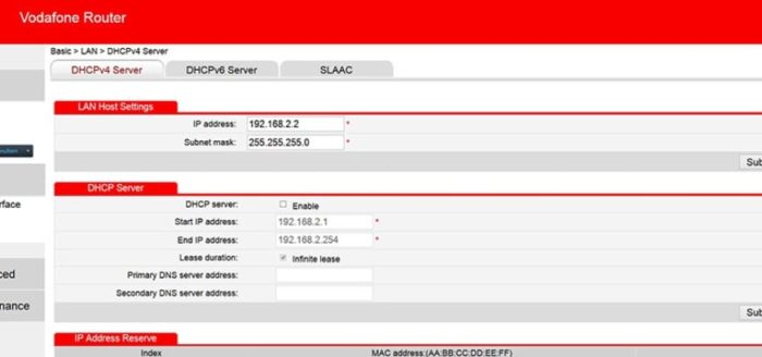 vodafone router login interface