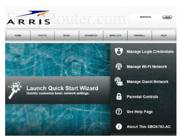 go to the official page of arris sbg6782-ac